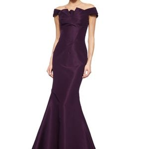 Zac Posen Folded Off-the-Shoulder Silk Faille Gown